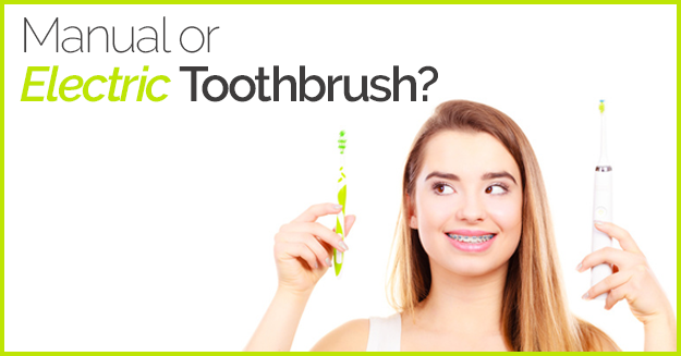 Girl wearing braces, smiling, holding electric and manual toothbrush with the words, Manual or Electric Toothbrush
