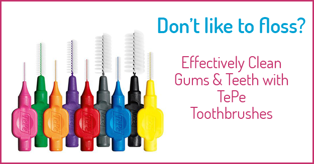 Picture of different colored TePe toothbrushes with the words, Don't like to floss? Effectively clean gums & teeth with TePe toothbrushes.